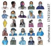 set of urban commuters  nurses... | Shutterstock .eps vector #1763116637