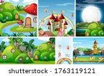 six different scene of fantasy...   Shutterstock .eps vector #1763119121