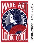 beautiful woman in make art... | Shutterstock .eps vector #1763122517
