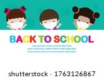 back to school for new normal... | Shutterstock .eps vector #1763126867