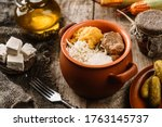 delicious polenta with meat ... | Shutterstock . vector #1763145737