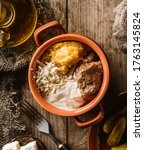 delicious polenta with meat ... | Shutterstock . vector #1763145824