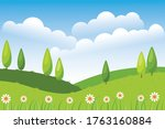 flat landscape flower hill...   Shutterstock .eps vector #1763160884