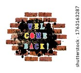 welcome back text as graffiti... | Shutterstock .eps vector #1763163287