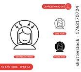 depression icons set vector...