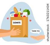 sharing food to people. foos... | Shutterstock .eps vector #1763211434