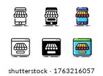 online shop icon. with outline  ...