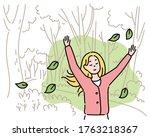 a woman is feeling a pleasant...   Shutterstock .eps vector #1763218367