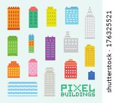 pixel art isolated buildings... | Shutterstock .eps vector #176325521