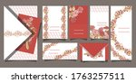 set of postcards with beautiful ... | Shutterstock .eps vector #1763257511