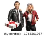Young Man And Woman In Leather...