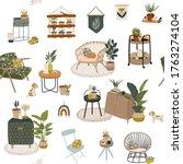 trendy scandinavian urban home... | Shutterstock .eps vector #1763274104
