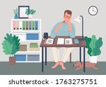 writer at home flat color... | Shutterstock .eps vector #1763275751