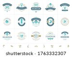 seafood logos or signs set... | Shutterstock .eps vector #1763332307