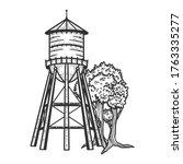 water tower sketch engraving... | Shutterstock .eps vector #1763335277