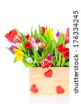 tulips in the box on white... | Shutterstock . vector #176334245