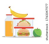 lunch box meal container with... | Shutterstock .eps vector #1763347577