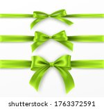 set green bow and ribbon on... | Shutterstock .eps vector #1763372591