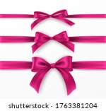 set pink bow and ribbon on... | Shutterstock .eps vector #1763381204