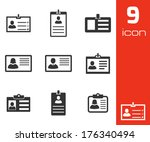 vector black id card icons set... | Shutterstock .eps vector #176340494