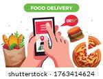 food delivery design concept ...   Shutterstock .eps vector #1763414624