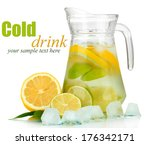 cold water with lime  lemon and ... | Shutterstock . vector #176342171