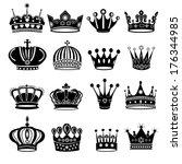Vector Black Crown Icons Set O...