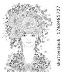 fairy girl with blossom...   Shutterstock .eps vector #1763485727