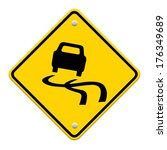 yellow slippery road sign ... | Shutterstock . vector #176349689