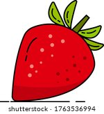 colorful icon of red strawberry ... | Shutterstock .eps vector #1763536994