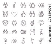 friends line style icon set... | Shutterstock .eps vector #1763590064