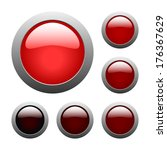 set of red rounded glass... | Shutterstock . vector #176367629