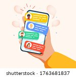 hand holding phone with short... | Shutterstock .eps vector #1763681837