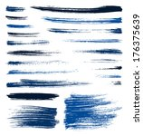 set of blue quality handmade...   Shutterstock . vector #176375639