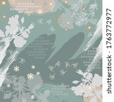 green scarf pattern with floral ... | Shutterstock .eps vector #1763772977