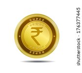 indian rupee currency sign gold ... | Shutterstock .eps vector #176377445