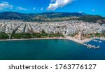 Aerial photo over Volos city and the port in Magnesia, Greece