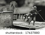 First Marine in Iwo Jima beach WW2 - plastic model 1:72 scale - extremely closeup - stock photo