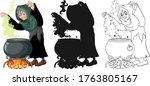 witch with black magic pot in... | Shutterstock .eps vector #1763805167