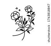 hand drawn monochrome flower...   Shutterstock .eps vector #1763818847