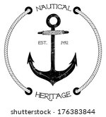 vintage nautical badge with... | Shutterstock .eps vector #176383844