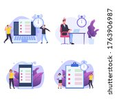 inefficient time management... | Shutterstock . vector #1763906987
