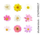 floral set of flowers chamomile ... | Shutterstock .eps vector #1763940017
