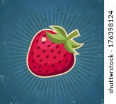 retro grunge strawberry... | Shutterstock .eps vector #176398124
