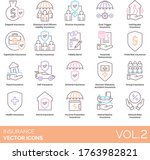 insurance icons including... | Shutterstock .eps vector #1763982821