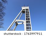 Industrial structure - coal mine shaft tower. Currently a historic monument in Chorzow, Poland known as Szyb Prezydent.