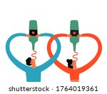 vector illustration with couple ... | Shutterstock .eps vector #1764019361