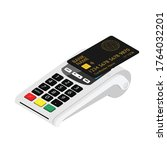 new smart pos terminal payment...   Shutterstock .eps vector #1764032201
