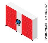 parcel delivery station. self...   Shutterstock .eps vector #1764032264
