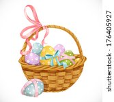 basket with easter eggs... | Shutterstock .eps vector #176405927